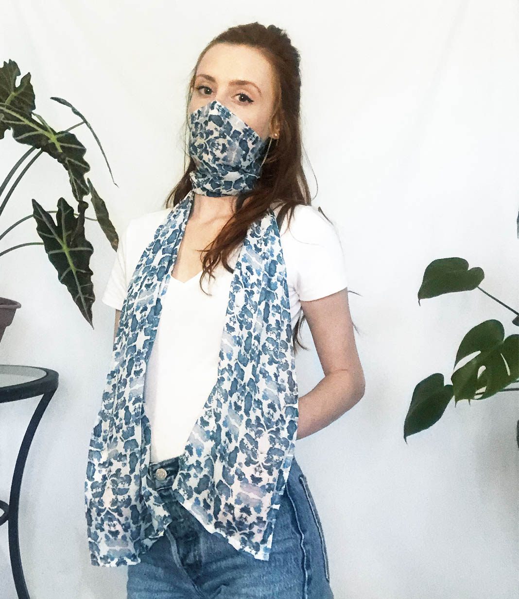blue face mask scarf