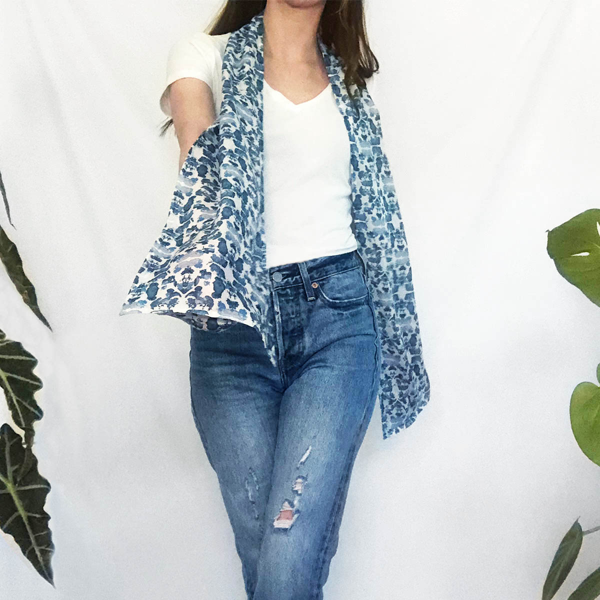 blue scarf with pockets