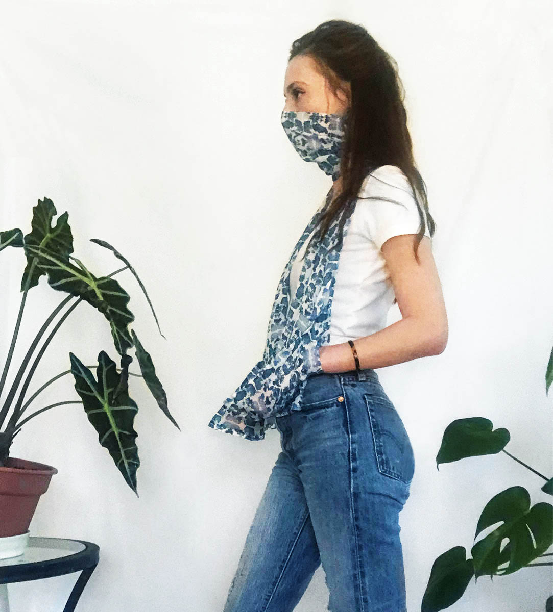 blue scarf face cover