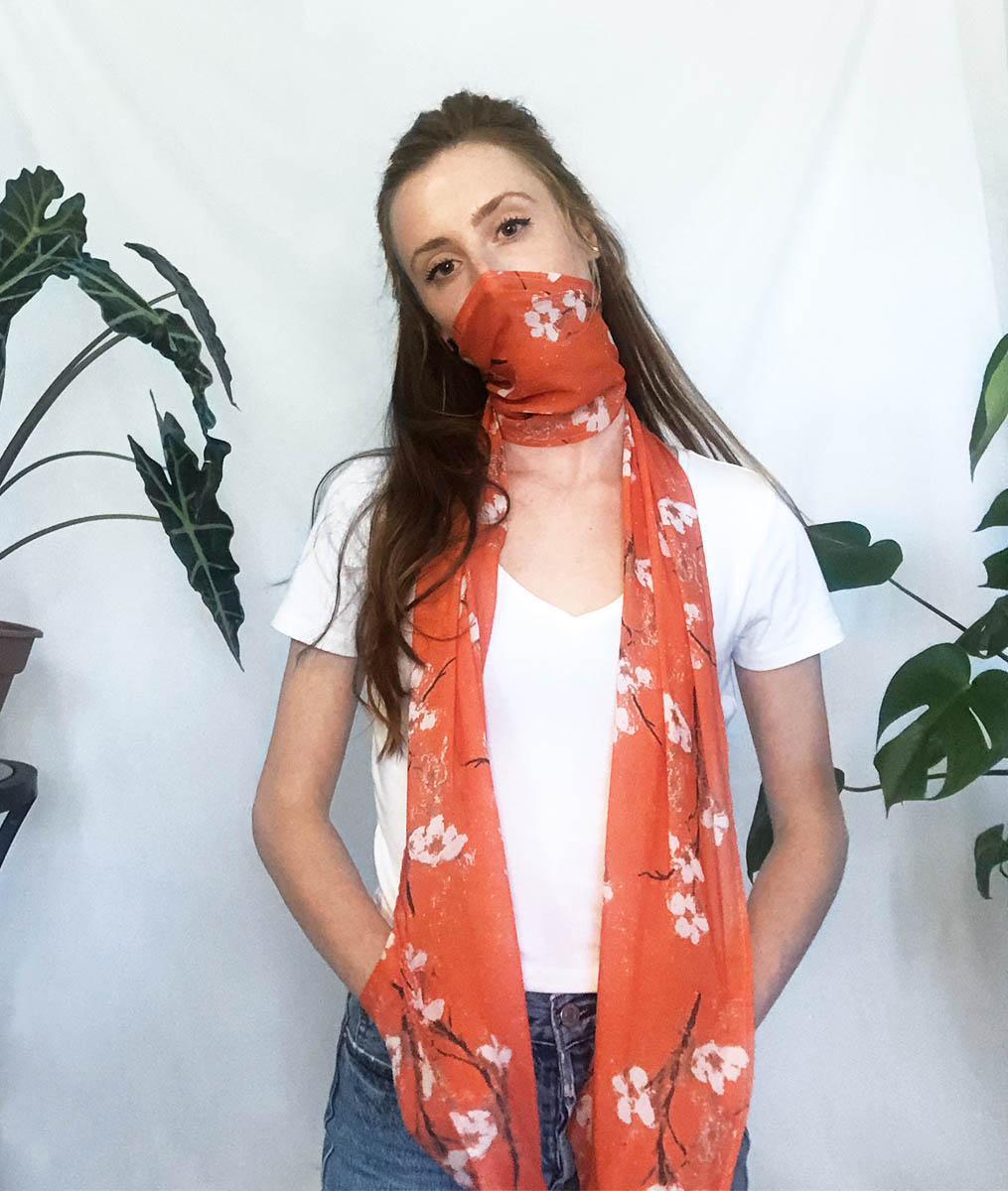 floral scarf face cover