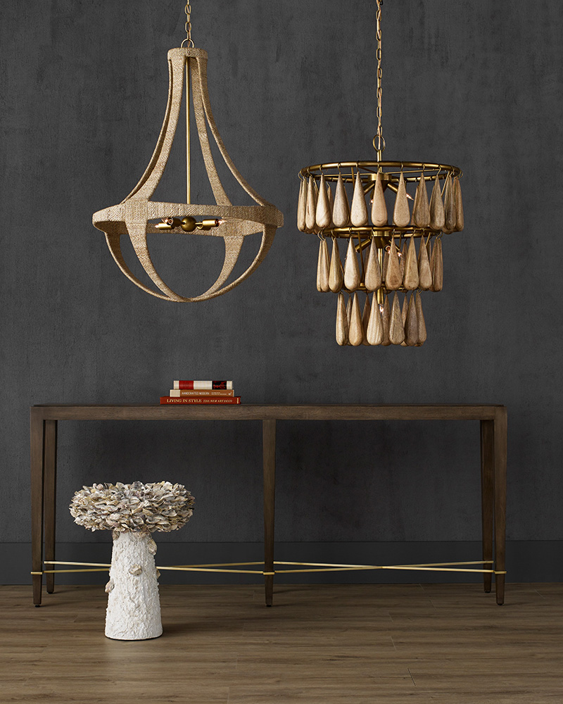 Savoiardi and Ibiza Chandeliers from Currey & Company are featured in our Natural Curated Collection.