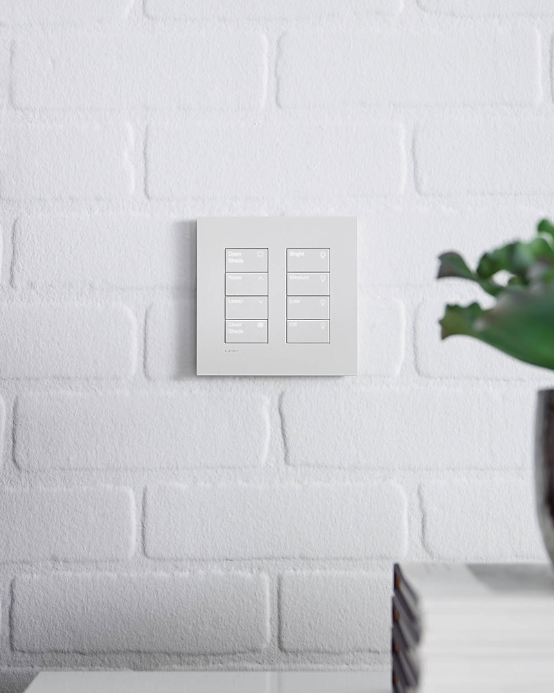 Two Lutron Palladiom Keypads. One controls lighting, and the other controls automated shading.